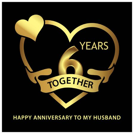 6 years Together golden. anniversary template design for web, game ,Creative poster, booklet, leaflet, flyer, magazine, invitation card - Vector Foto de archivo - 138040425