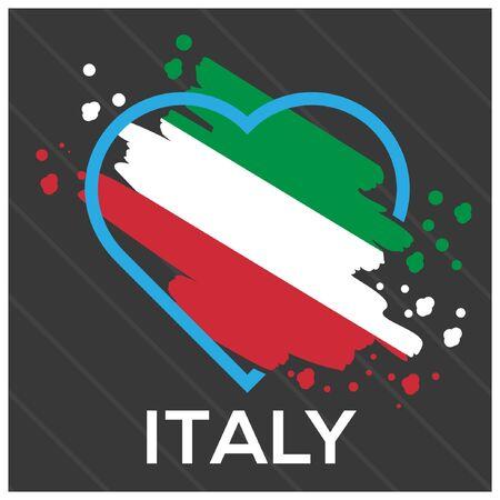 Italy flag Heart stock vector. Vector illustration on gray background. Foto de archivo - 138040443