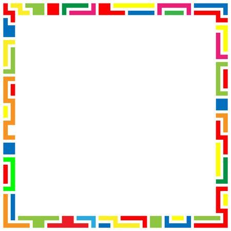 Geometric frame, flat designs on white background. Colorful frame. Foto de archivo - 138040451