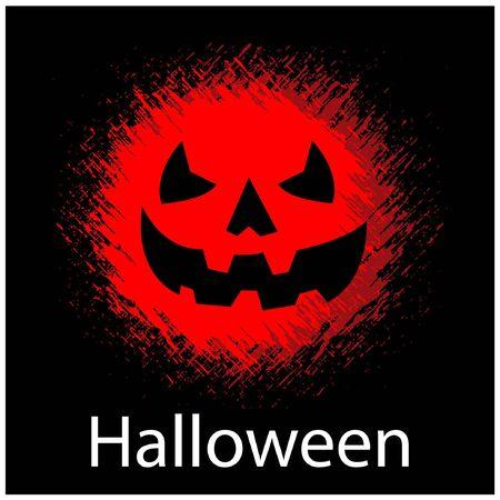 Black Halloween background with red pumpkin. flat design