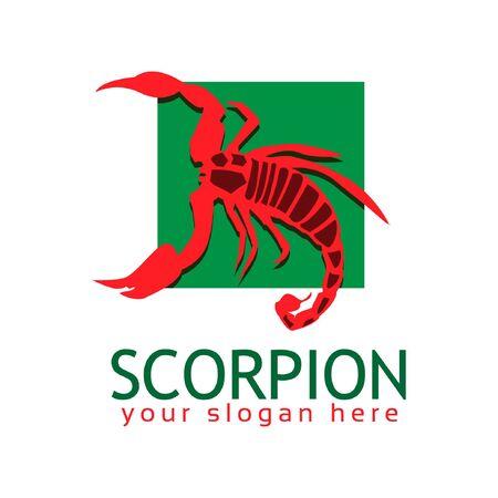 Scorpion logo stock logo template, flat design. Red Scorpion logo