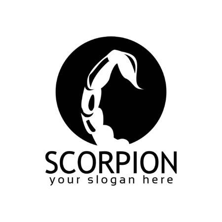 Scorpion logo stock logo template, flat design. Tail Scorpion logo Illusztráció