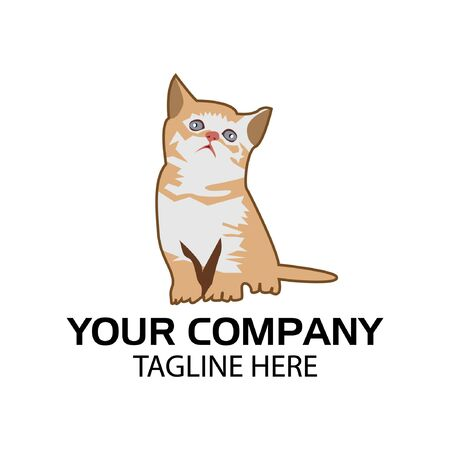 Cat Stock logo template. light brown cat, cute cat