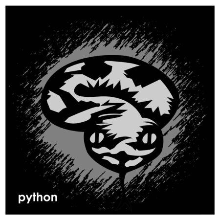 Black python on comic background. Black python Monogram Ilustracja