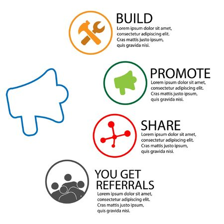 Referral Marketing Guide infographic. flat design