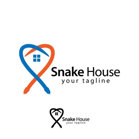 House Snake logo template, flat design. abstract house