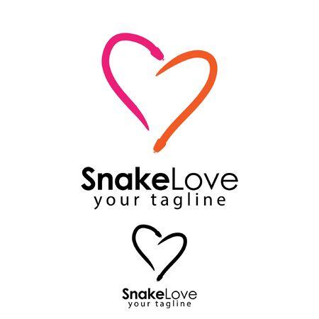 Love snake logo template, flat design. abstract snake