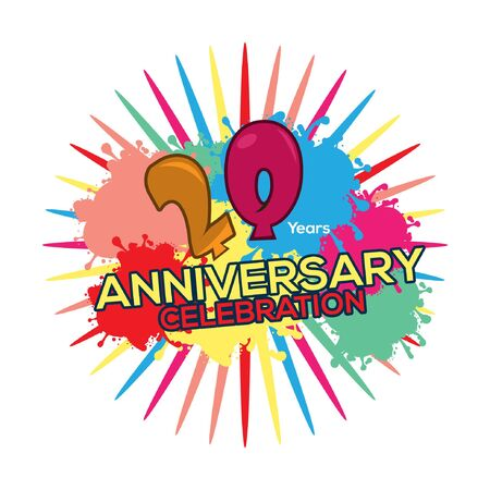 Twenty years anniversary colorful. anniversary template design for web, poster, booklet, leaflet, etc - Vector Foto de archivo - 138040510