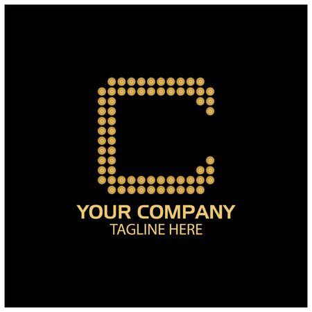 C logo template, C letter, Gold logo design. vector Foto de archivo - 138040516