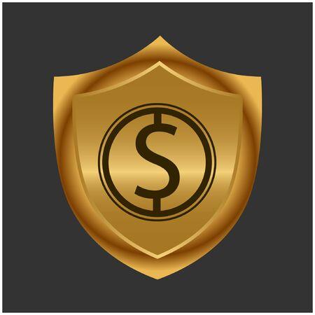 Dollar and gold shield. Stock icon. Vector Illustration. Foto de archivo - 138040526