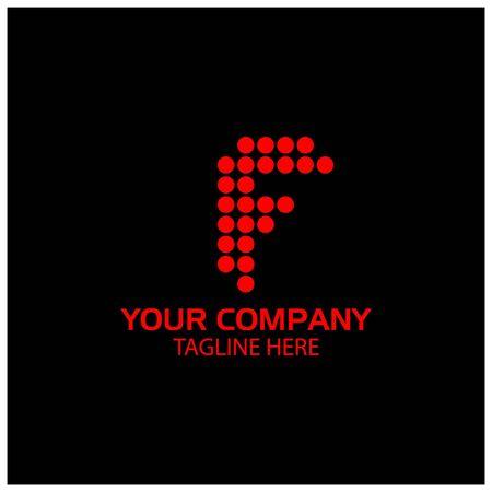 F logo template, F letter, Red logo design. vector Foto de archivo - 138040528