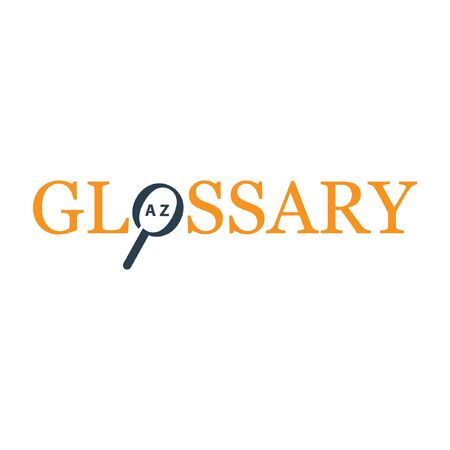 Glossary text. Flat design. Vector text on white background