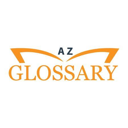 Glossary with book. Flat design. Vector Illustration on white Ilustração