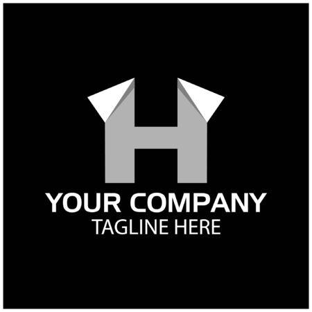 H logo template, paper letter. H letter, flat design. vector Foto de archivo - 138040546