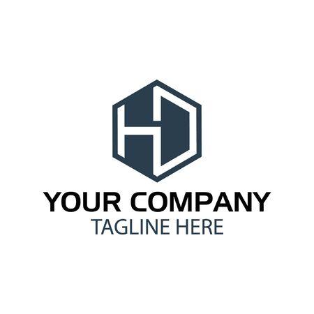 Letter HD stock logo, HD initial., flat design. HD monogram Logó