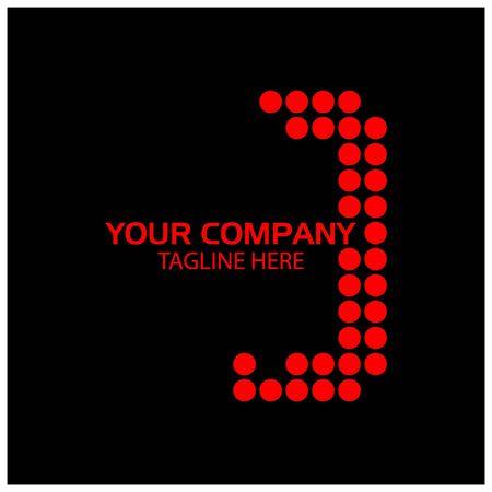 J logo template, J letter, Red logo design. vector