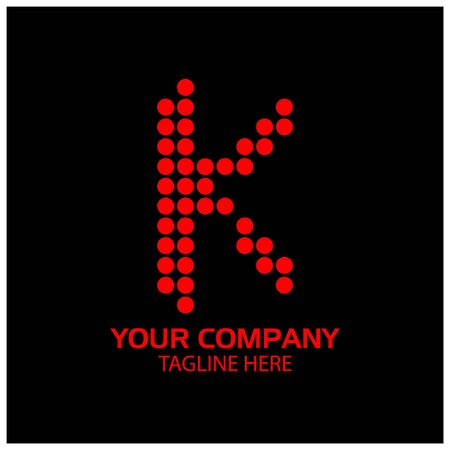 K logo template, K letter, Red logo design. vector