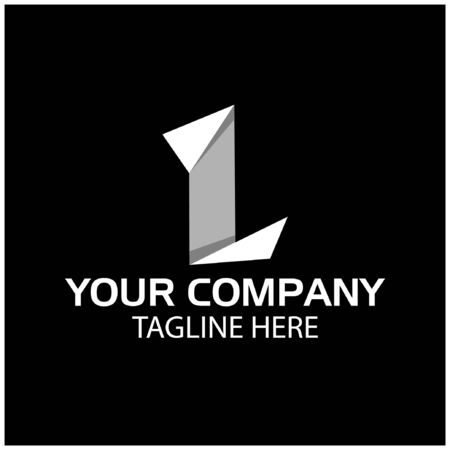 L logo template, paper letter. L letter, flat design. vector Ilustracja