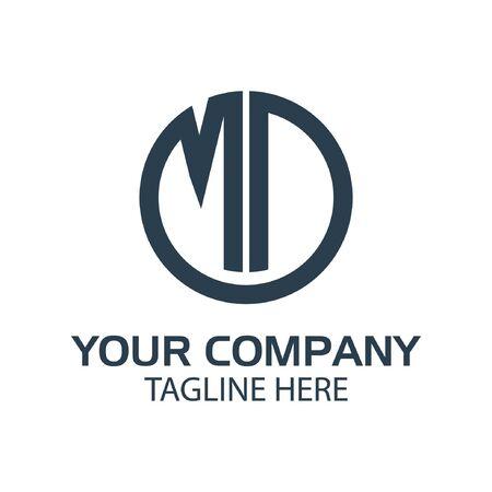 Letter MD stock logo, MD initial., flat design. technology logo Illustration