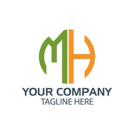 Letter MH stock logo, MH initial., flat design. technology logo Logó