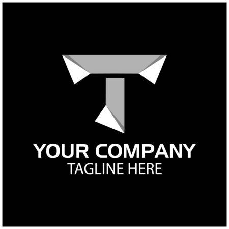 T logo template, paper letter. T letter, flat design. vector Ilustracja