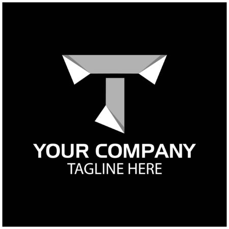 T logo template, paper letter. T letter, flat design. vector Zdjęcie Seryjne - 138024962