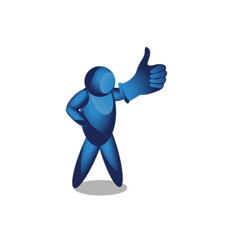man shows a sign Thumb Down. vector illustrator