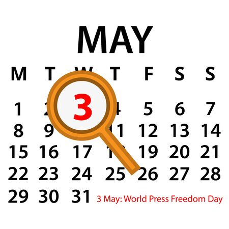 Simple vector calendar. May 3th. Commemorate the World Press Freedom Day.