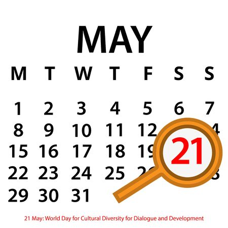 Simple vector calendar. May 21th. Commemorate the World Day for Cultural Diversity for Dialogue and Development