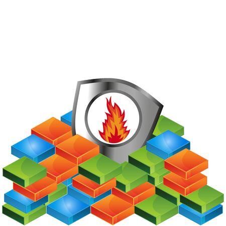 fire shield vector illustration.  illustration in vector format