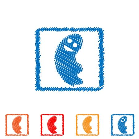 Vector abstract hatched ghost in rectangular. Flat design.