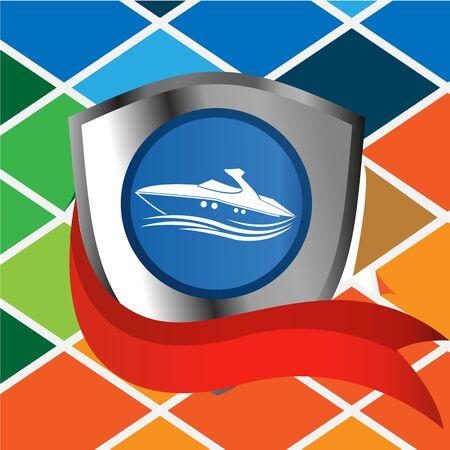 ship shield vector illustration