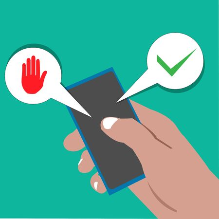 vector cartoon illustration of right hand holding handphone with Yes or no choice.  illustration in vector format Çizim