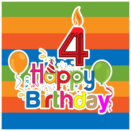 Happy birthday vector design with number four. for a four year old child. banner, sticker, greeting cards,  and background