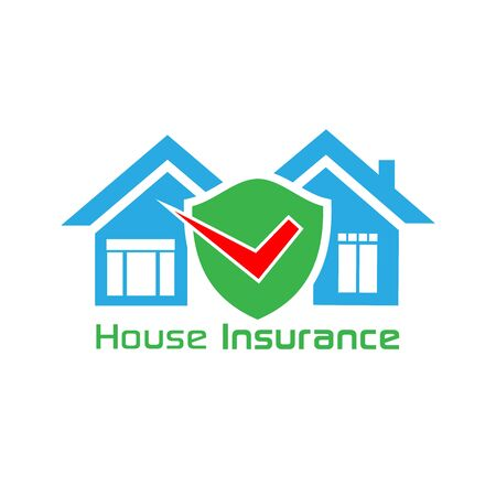 House insurance with house and icon shield Foto de archivo - 138040616