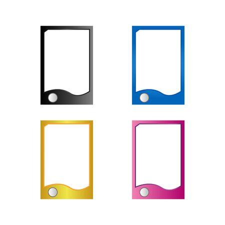 Colorful hand phone icon set. Illusztráció