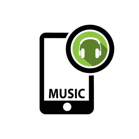 Smart phone and Music icon Illusztráció