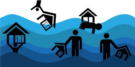house insurance. Flood Disaster Vector Illustration.