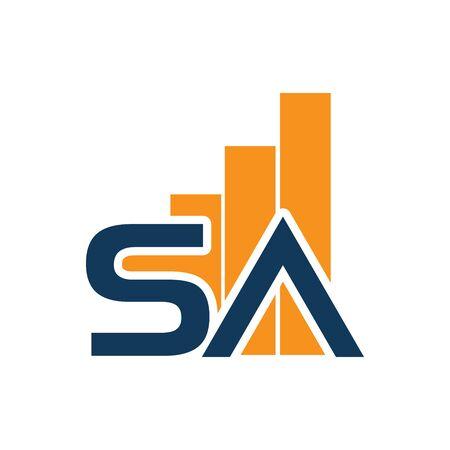 SA logo with growth chart. SA letter. Flat logo design