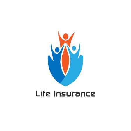 Life Insurance, people shield icon. Vector flat style illustration Abstract business security Agency logo template. Illusztráció
