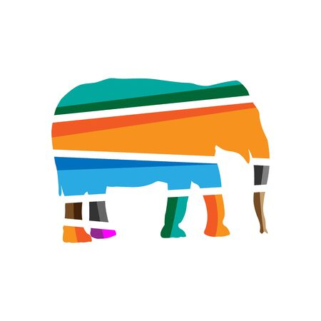 Colorful elephant icons. Colorful icon have a cheerful, happy, and active impression Иллюстрация