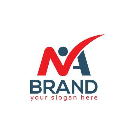 MA logo with people. MA letter. Flat logo design Logo