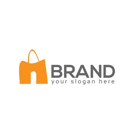 N shopping bag logo vector. Flat logo design. Иллюстрация