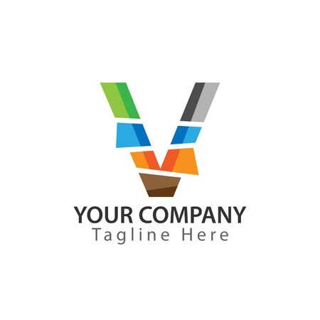 Creative Letter V logo Design. Colorful logos have a cheerful, happy, and active impression Ilustracja