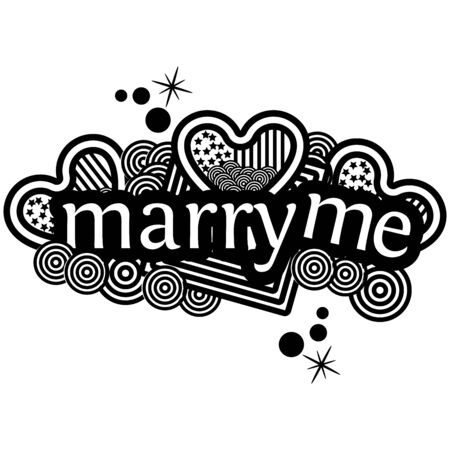 Marry me. Hand lettering typography text. Heart Doodles. vector illustrator Иллюстрация