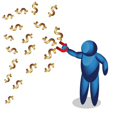 People Icon with magnet suck money. modern Idea. Concept Vector illustration Business