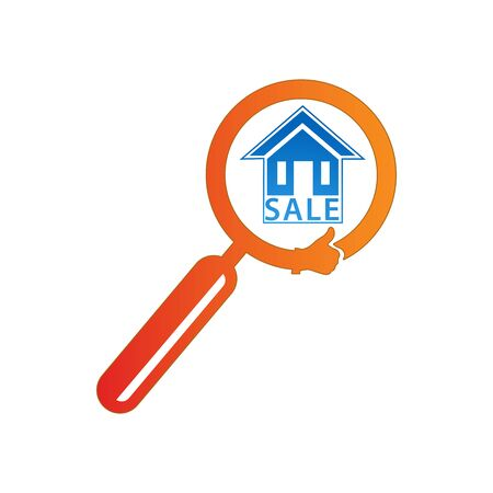 Magnifier search nice house. logo vector illustration Иллюстрация