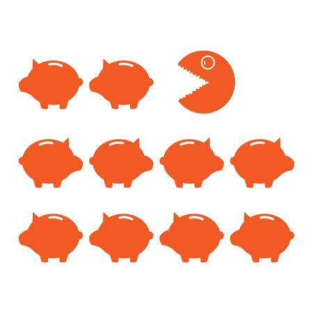 Piggy bank and eater of savings. illustrations that can reduce savings