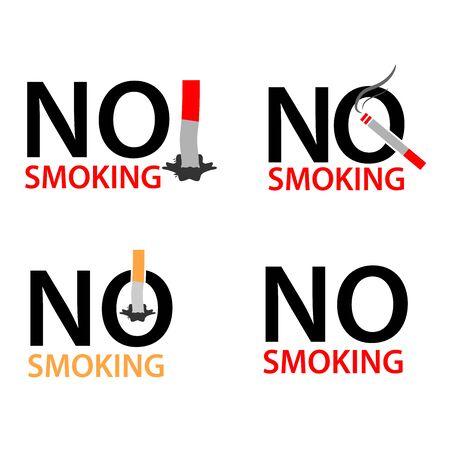 No smoking, Set illustration of no smoking. Ilustracja