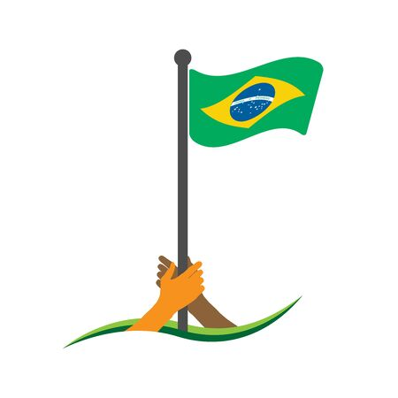 Hand holding the flag. Brazil flag vector.  The concept of holding from nationalism. Zdjęcie Seryjne - 138535962